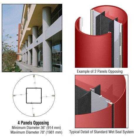 CRL Custom Color Newlar Painted Standard Series Round Column Covers Four Panels Opposing - ECR40CNL