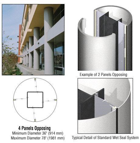 CRL Custom Silver Metallic Standard Series Round Column Covers Four Panels Opposing - ECR40CSM