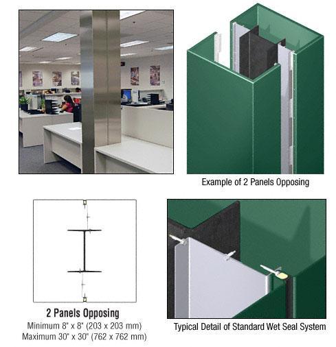 CRL Custom Color Kynar® Painted Standard Series Square Column Covers Two Panels Opposing - ECS20CKN
