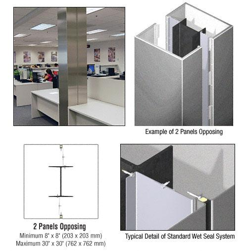 CRL Custom Silver Metallic Standard Series Square Column Covers Two Panels Opposing - ECS20CSM