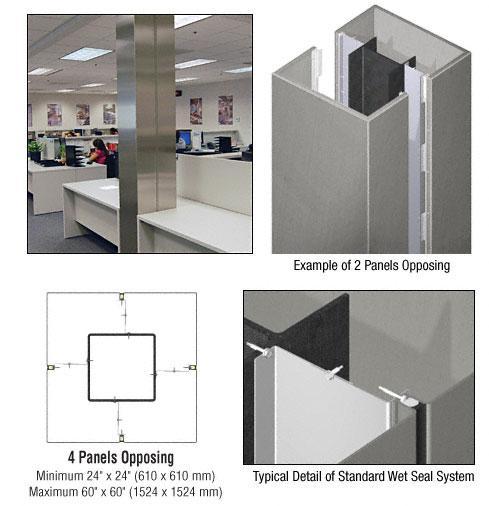 CRL Custom Brushed Stainless Standard Series Square Column Covers Four Panels Opposing - ECS40CBS