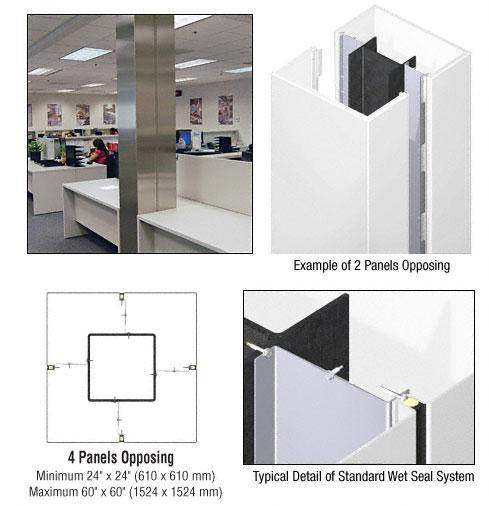 CRL Custom Bone White Standard Series Square Column Covers Four Panels Opposing - ECS40CBW