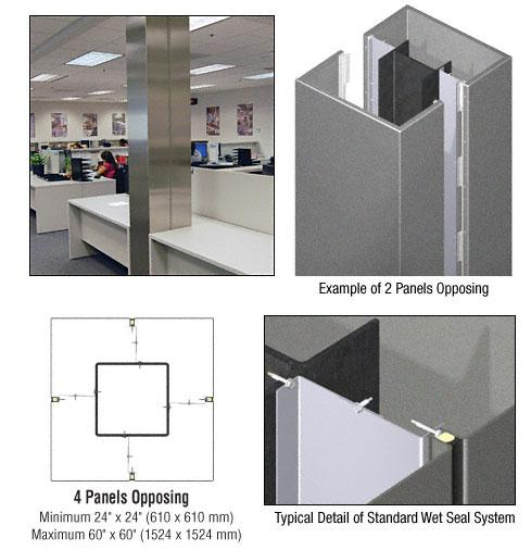 CRL Custom Mica Platinum Standard Series Square Column Covers Four Panels Opposing - ECS40CMP
