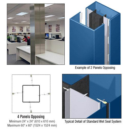 CRL Custom Color Powder Painted Standard Series Square Column Covers Four Panels Opposing - ECS40CPT