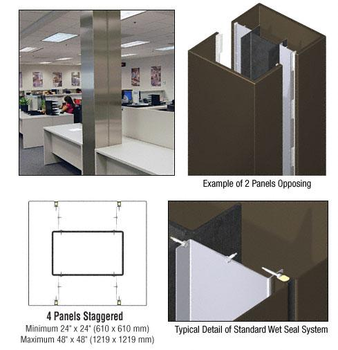 CRL Custom Oil Rubbed Bronze Standard Series Square Column Covers Four Panels Staggered - ECS45CORB