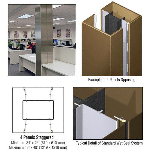 CRL Custom Polished Bronze Standard Series Square Column Covers Four Panels Staggered - ECS45CPBRZ