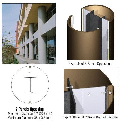 CRL Custom Polished Bronze Premier Series Round Column Covers Two Panels Opposing - PCR20CPBRZ