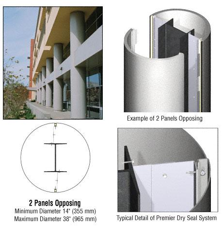 CRL Custom Silver Metallic Premier Series Round Column Covers Two Panels Opposing - PCR20CSM