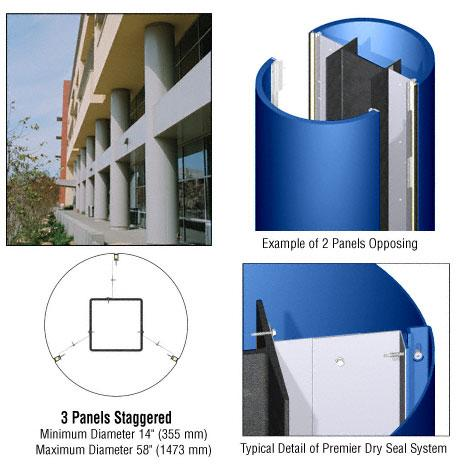 CRL Custom Color Powder Painted Premier Series Round Column Covers Three Panels Staggered - PCR30CPT