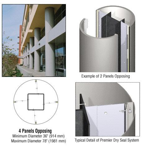 CRL Custom Non-Directional Stainless Premier Series Round Column Covers Four Panels Opposing - PCR40CNDS