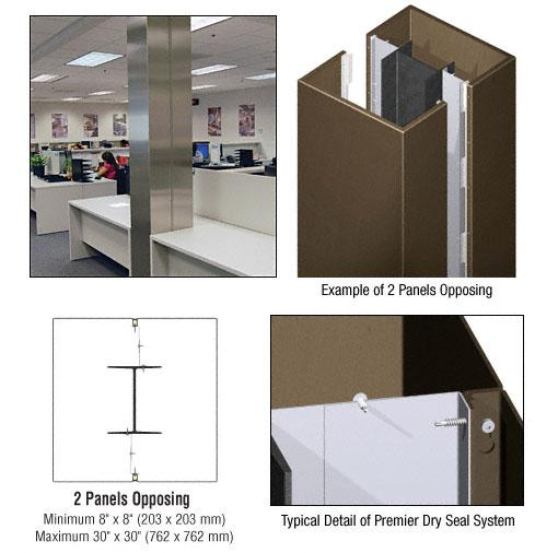 CRL Custom Brushed Bronze Premier Series Square Column Covers Two Panels Opposing - PCS20CBBRZ