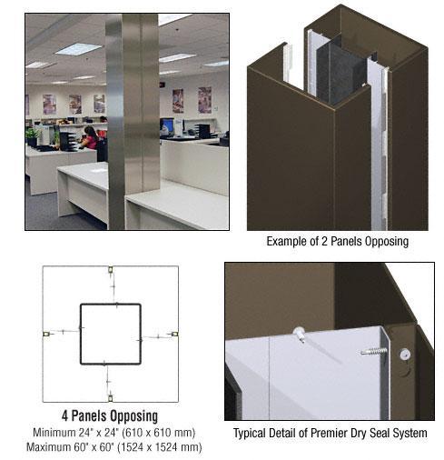 CRL Custom Oil Rubbed Bronze Premier Series Square Column Covers Four Panels Opposing - PCS40CORB