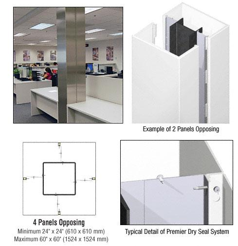 CRL Custom Bone White Premier Series Square Column Covers Four Panels Opposing - PCS40CBW