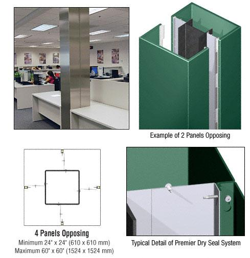 CRL Custom Color Kynar® Painted Premier Series Square Column Covers Four Panels Opposing - PCS40CKN
