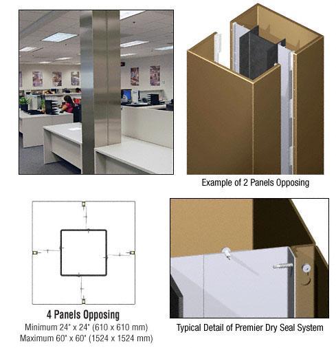 CRL Custom Polished Bronze Premier Series Square Column Covers Four Panels Opposing - PCS40CPBRZ