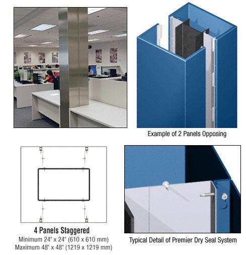 CRL Custom Color Powder Painted Premier Series Square Column Covers Four Panels Staggered - PCS45CPT