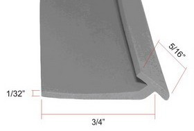 Flexible Gray Strike Jamb Vinyl - 6 Feet Length - WBS 032328