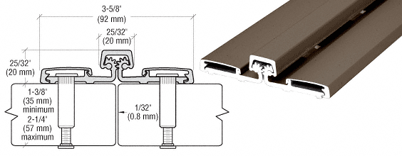 "CRL Dark Bronze Roton® 057HD Series 83"" Heavy-Duty Full Surface Hinge CRL 057HD83DU"