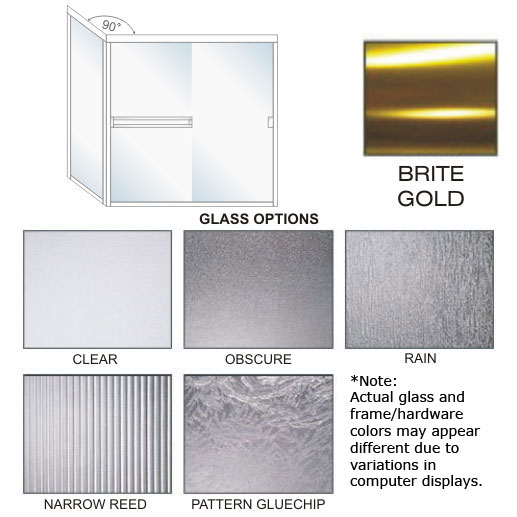 SE-1000C-R Semi-Frameless, Double Sliding Shower Enclosure Size 60 inch wide x 67-3/4 inch high, Showerhead Right, Brite Gold