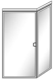 108 Framed Glass Shower Door with 90 Degree Return Panel and Header - Hinged on Left