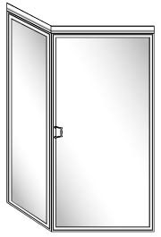 108 Framed Glass Shower Door with 90 Degree Return Panel and Header - Hinged on Right