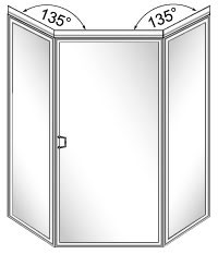111 Framed Neo-Angle Glass Shower Door with 135 Degree Return Panels - Hinged on Right