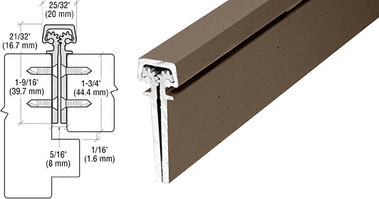 """CRL Dark Bronze Anodized 83"""" Roton 112 Series Concealed Leaf Continuous Hinge CRL 11283DU"""