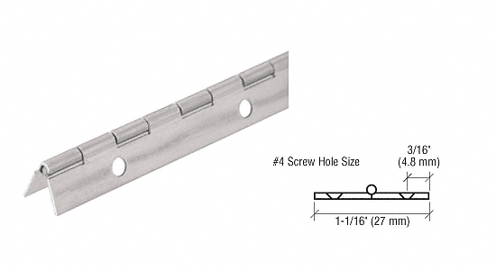 "CRL Nickel on Steel Piano Hinge with 1-1/16"" Open Width CRL 1716NS"