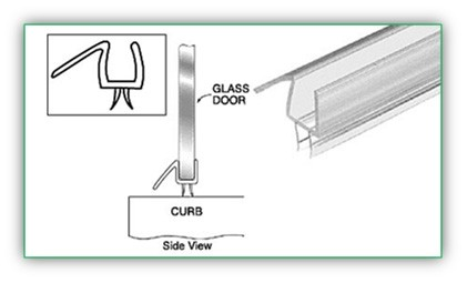 1/2 inch Glass use Polycarbonate Bottom Rail With Wipe, Pack of 10 - POL2008_12_PC10