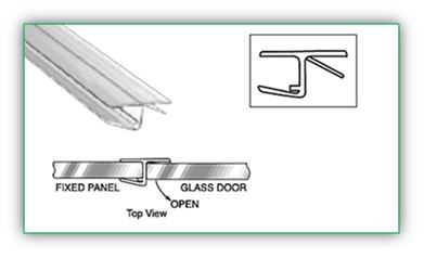 180 DEGREES  H JAMB WITH FIN FOR 3/8 INCH THICK GLASS - SGAW POL2010-10