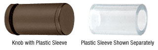 Cylinder Style Oil Rubbed Bronze Single-Sided Shower Door Knob With Plastic Sleeve - CRL SDKP212ORB