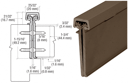 "CRL Dark Bronze Anodized 83"" Roton 224 Series Concealed Leaf Hinge with Lip for 1-3/4"" Entry Door CRL 22483DU"