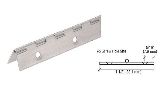 "CRL Nickel on Steel Piano Hinge with 1-1/2"" Open Width CRL 2416NS"