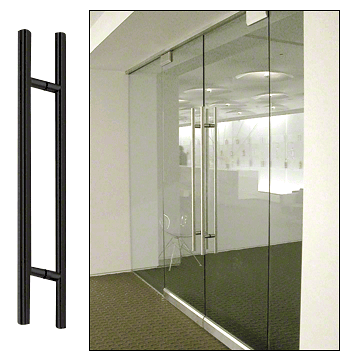 "CRL Matte Black 24"" Extra Length Ladder Style Back-to-Back Pull Handle CRL 24LPMBL"