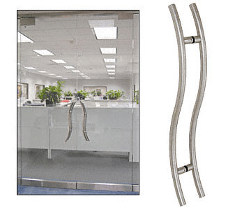 "CRL Brushed Stainless 24"" Extra Length Right Handed ""S"" Ladder Style Back-to-Back Pull CRL 24SRPBS"