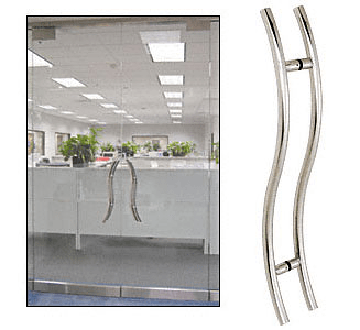 "CRL Polished Stainless 24"" Extra Length Right Handed ""S"" Ladder Style Back-to-Back Pull CRL 24SRPPS"