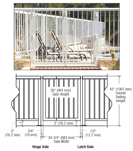 """CRL Sky White 36"""" 200 Series Aluminum Railing System Gate With Picket for 1/4"""" to 3/8"""" Glass CRL 2PG3642W"""