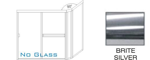TE-3000D-L Semi-Frameless Euro Style, Double Sliding Tub Enclosure KD Size 60 inch wide x 57 inch high, Showerhead Left, Brite Silver.