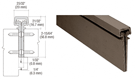 """CRL Dark Bronze Anodized 300 Series Standard Duty Concealed Continuous Hinge - 83"""" CRL 30083DU"""