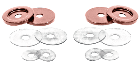 CRL Polished Copper Replacement Washers for Back-to-Back Solid Pull Handle CRL 30WKPC0