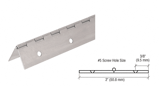 "CRL Nickel on Steel Piano Hinge with 2"" Open Width CRL 3200NS"