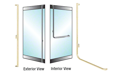 "CRL-Blumcraft® Satin Brass Left Hand Reverse Rail Mount 'F' Exterior Dummy Handle for 3/4"" Glass CRL 3H100F4RSB"