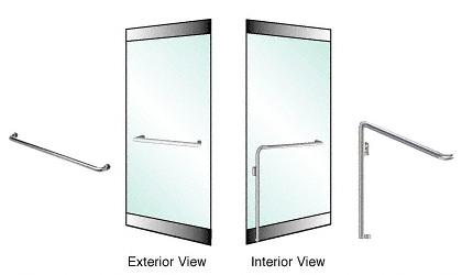 "CRL-Blumcraft® Brushed Stainless Left Hand Reverse Rail Mount ""A"" Exterior Dummy Handle for 3/4"" Glass CRL 3H110A4RBS"