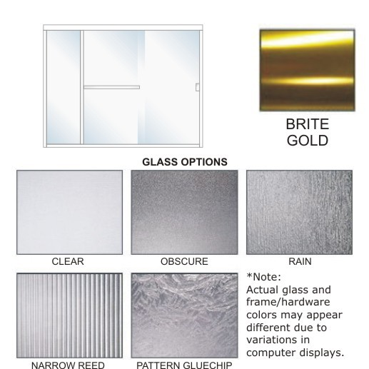 SE-4000A-R Frameless Light Shower Enclosure Size 72 inch wide x 70-3/4 inch high, Showerhead Right, Brite Gold.