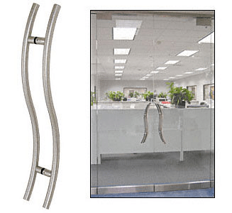 "CRL Brushed Stainless 48"" Extra Length Left Handed ""S"" Ladder Style Back-to-Back Pull CRL 48SLPBS"