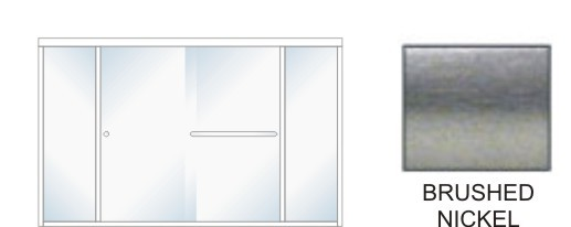 SE-5000B-L Heavy Duty Euro Style Shower Enclosure Size 84 inch wide x 70-3/4 inch high, Showerhead Left, Brushed Nickel.