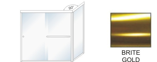 TE-5000C-L Semi-Frameless Euro Style, Double Sliding Tub Enclosure  Size 60 inch wide x 62-3/4 inch high, Showerhead Left, Brite Gold.