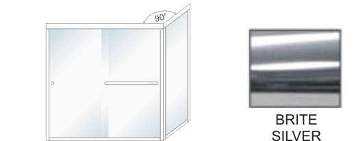 TE-5000C-L Semi-Frameless Euro Style, Double Sliding Tub Enclosure  Size 60 inch wide x 57-3/4 inch high, Showerhead Left, Brite Silver.