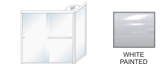 TE-5000C-L Semi-Frameless Euro Style, Double Sliding Tub Enclosure  Size 60 inch wide x 57-3/4 inch high, Showerhead Left, White Painted.