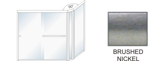 TE-5000D-L Semi-Frameless Euro Style, Double Sliding Tub Enclosure  Size 60 inch wide x 57-3/4 inch high, Showerhead Left, Brushed Nickel.